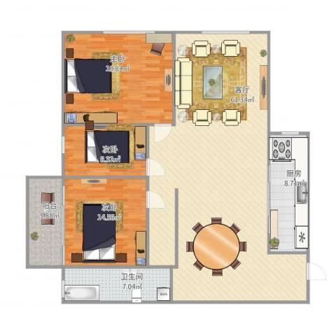 假日香港广场3室1厅1卫1厨167.00㎡户型图