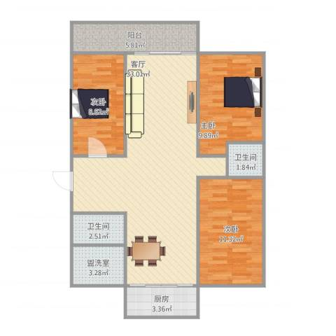 鑫泉花园3室2厅2卫1厨86.43㎡户型图