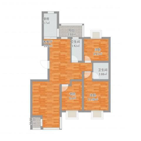 紫薇臻品3室1厅2卫1厨123.00㎡户型图