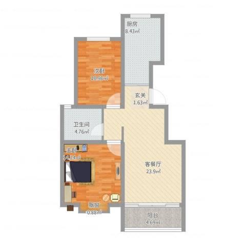 银丰唐郡・牡丹园2室1厅1卫1厨96.00㎡户型图