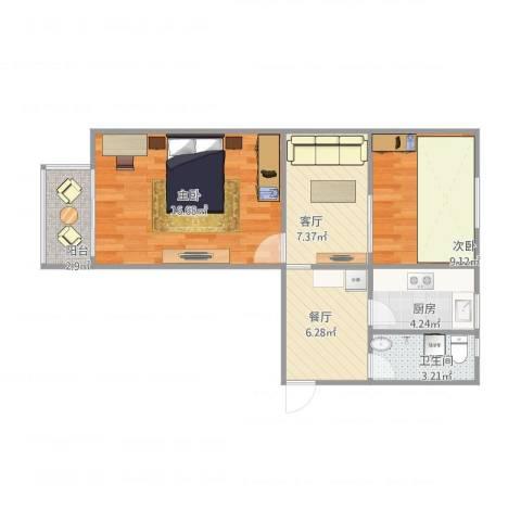 天辰公寓5-3-5012室2厅1卫1厨54.33㎡户型图