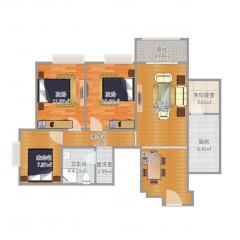 万科大都会3室1厅2卫1厨109.00㎡户型图