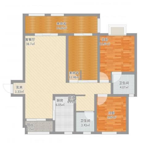 华府天地2室1厅3卫1厨149.00㎡户型图