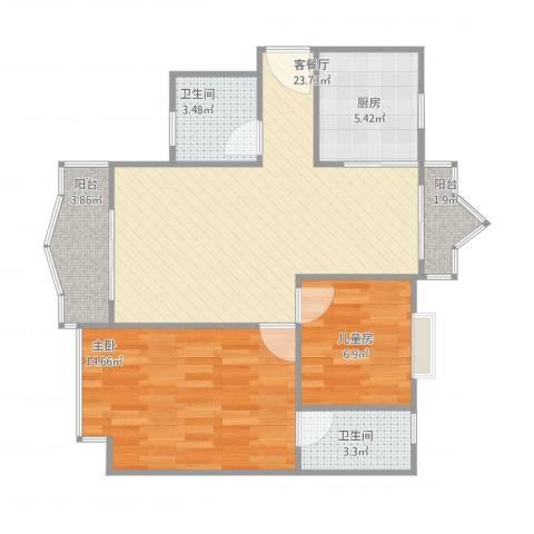 碧湖花园2室1厅2卫1厨86.00㎡户型图