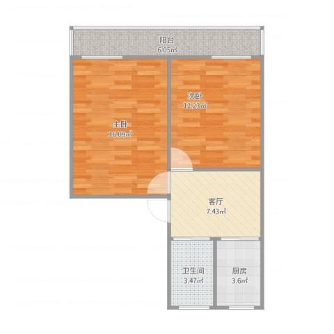 集虹苑2室1厅1卫1厨67.00㎡户型图