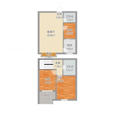 文华园竹韵3室1厅2卫1厨116.00㎡户型图
