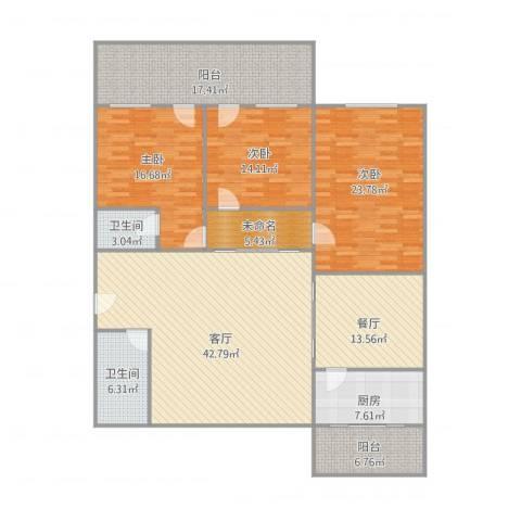 景苑花园3室2厅2卫1厨210.00㎡户型图