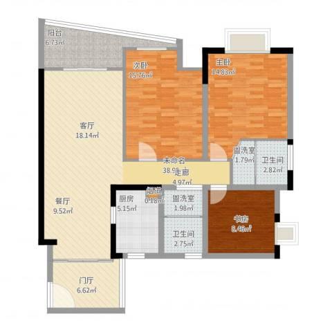 上海城三期天域3室2厅3卫1厨122.00㎡户型图