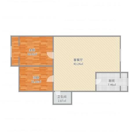 青吉里2室1厅1卫1厨107.00㎡户型图