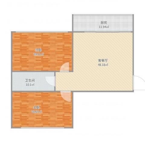 孙家沟散盘2室1厅1卫1厨132.39㎡户型图