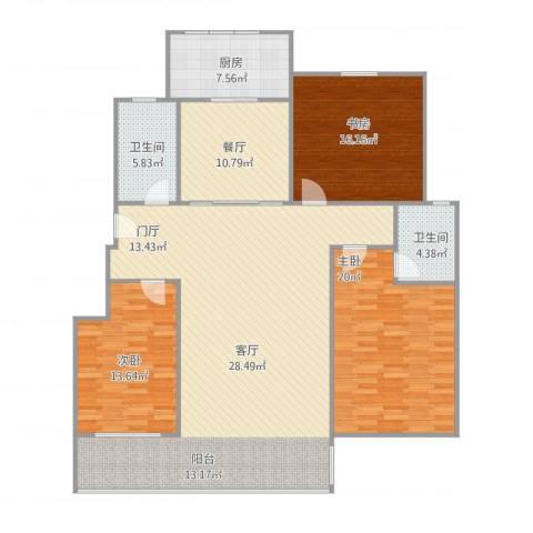 审计厅宿舍3室1厅2卫1厨177.00㎡户型图