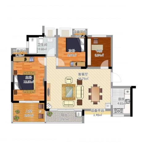水安盛世桃源3室1厅1卫1厨108.00㎡户型图