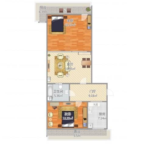 乐山小区2室1厅1卫1厨124.00㎡户型图