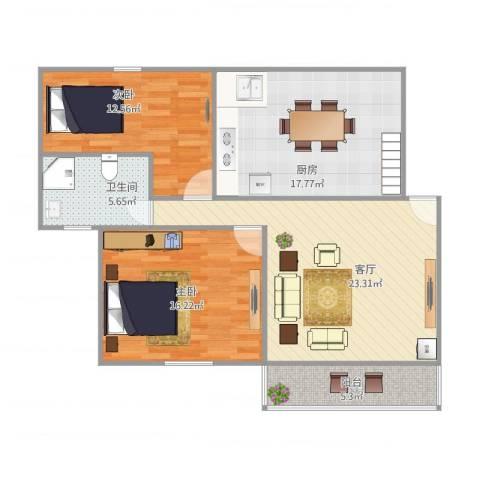 明纶园2号601室2-1-12室1厅1卫1厨108.00㎡户型图