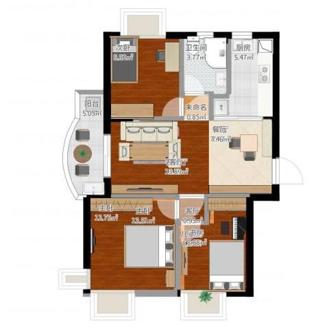 东城水岸3室2厅1卫1厨98.00㎡户型图