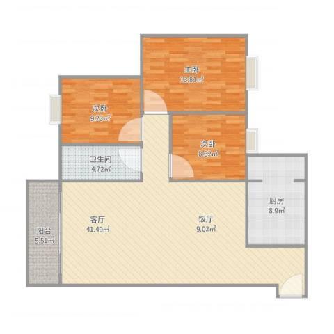 南油花园-16栋6013室1厅1卫1厨99.00㎡户型图