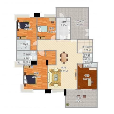 华鸿水云轩4室3厅3卫1厨225.00㎡户型图