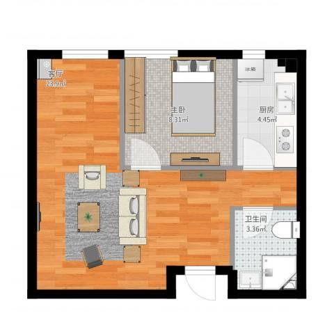 银帆国际1室1厅1卫1厨57.00㎡户型图