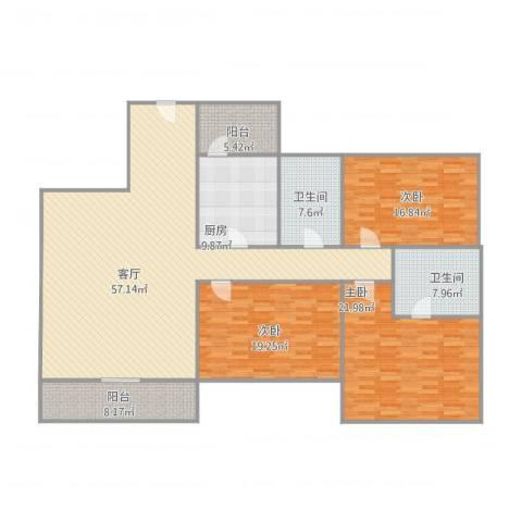 康格斯花园3室1厅2卫1厨205.00㎡户型图