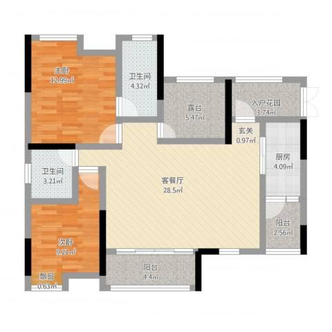 鸥鹏・天境2室1厅2卫1厨116.00㎡户型图