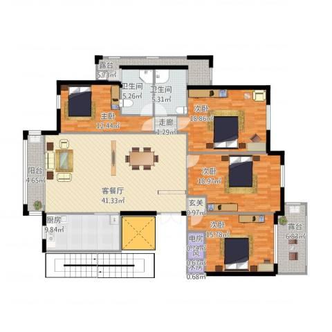 香格里拉花园4室1厅5卫1厨190.00㎡户型图