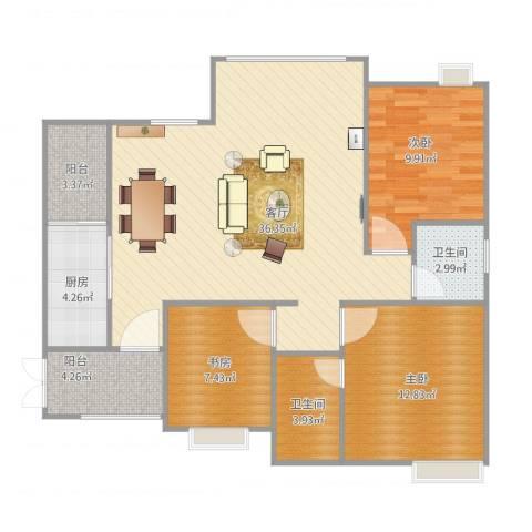 鸥鹏・天境3室1厅2卫1厨115.00㎡户型图