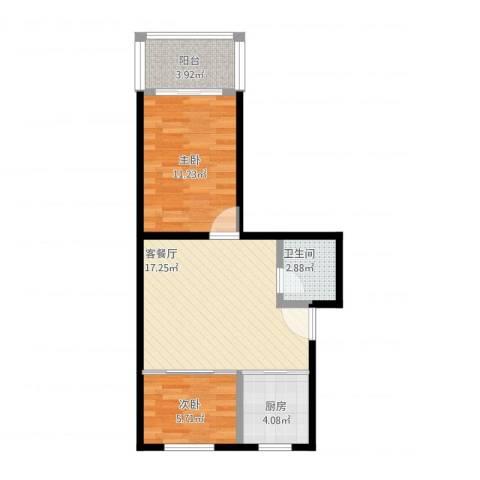 樱花小区2室1厅1卫1厨64.00㎡户型图