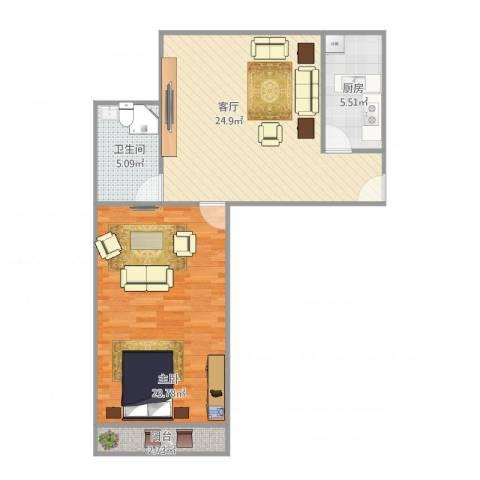 东陆新村六街坊1室1厅1卫1厨83.00㎡户型图
