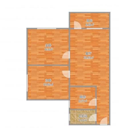 化纤小区2室1厅1卫1厨108.00㎡户型图