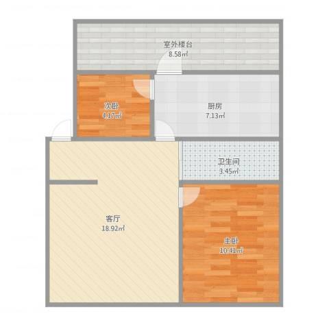 湖光小区7032室1厅1卫1厨72.00㎡户型图
