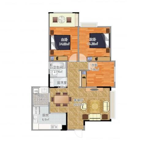 宝龙城市广场3室2厅1卫1厨101.00㎡户型图