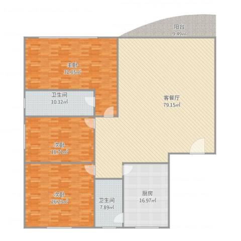 东城花园3室1厅2卫1厨250.00㎡户型图