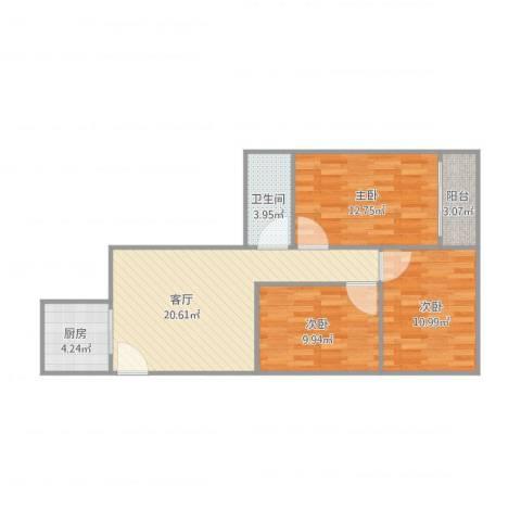 东城花园-3栋3单元15013室1厅1卫1厨89.00㎡户型图