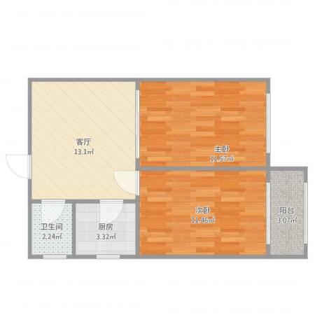 科学家公寓2室1厅1卫1厨61.00㎡户型图