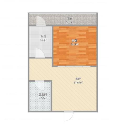 国宜北里1室1厅1卫1厨61.00㎡户型图