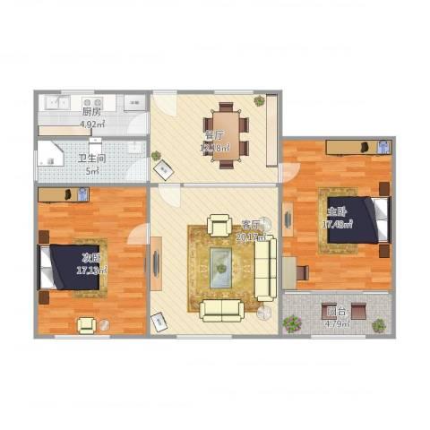 延吉东路1312室2厅1卫1厨109.00㎡户型图