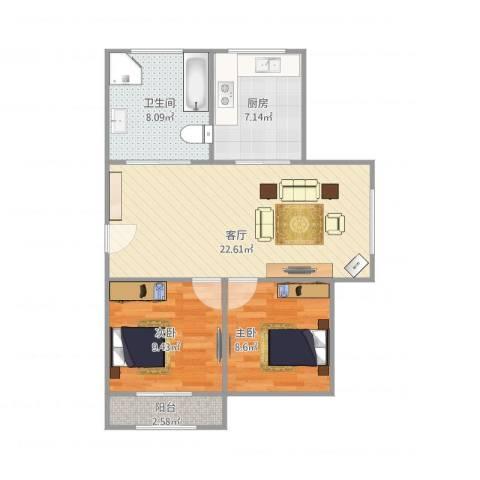 鹏海西区2室1厅1卫1厨79.00㎡户型图