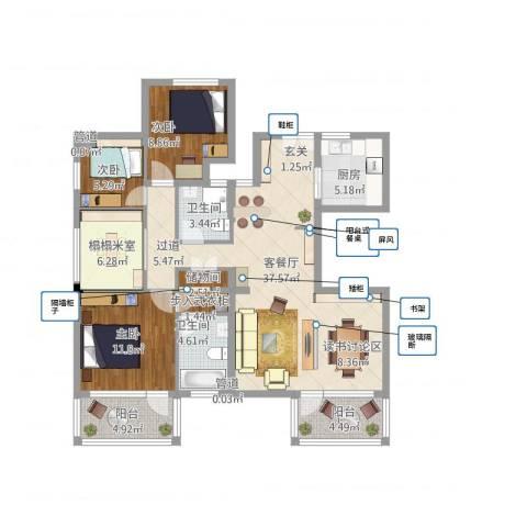 水月周庄3室1厅2卫1厨137.00㎡户型图