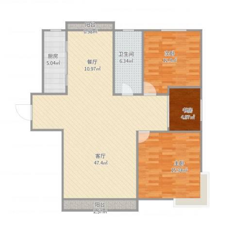 嘉城香槟河畔3室1厅1卫1厨128.00㎡户型图