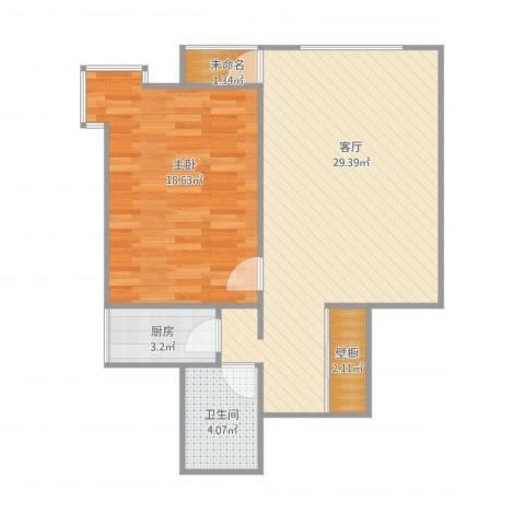 金水畔家园1室1厅1卫1厨79.00㎡户型图