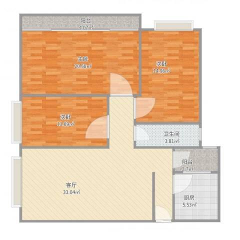 金沙新城3室1厅1卫1厨130.00㎡户型图