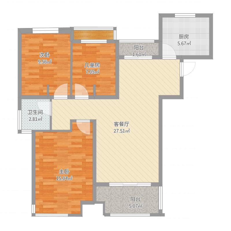 上实海上荟B2户型97方三室两厅一卫