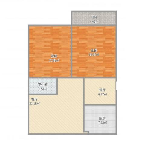 双龙龙盛苑2室2厅1卫1厨107.00㎡户型图