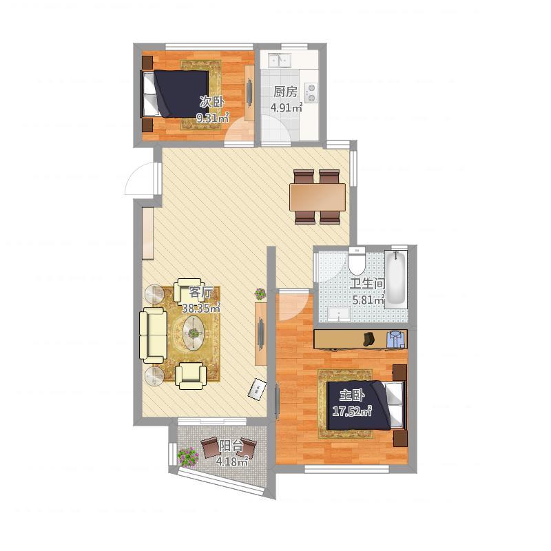 嘉凯城东方龙域90方B5户型两室两厅