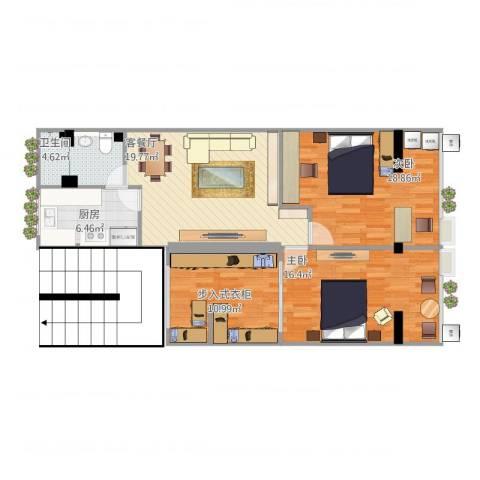 大桥花苑2室1厅1卫1厨106.00㎡户型图