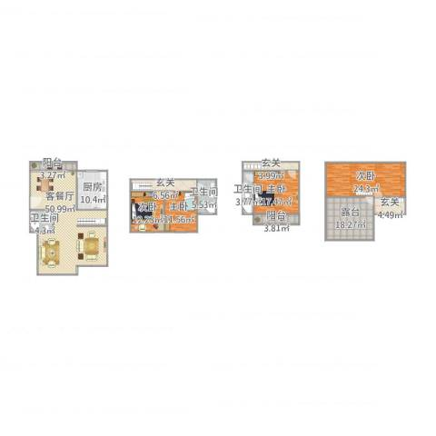 北欧阳光庭园2号301室4室1厅3卫1厨194.64㎡户型图