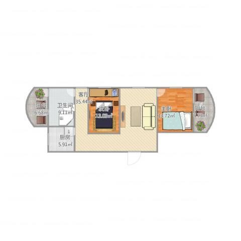 怡福新村2室1厅1卫1厨124.00㎡户型图