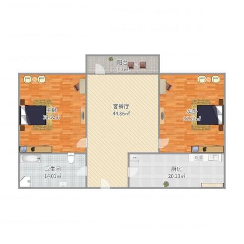 文苑花园2室1厅1卫1厨200.00㎡户型图