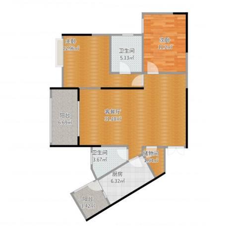 宏声阳光绿洲2室1厅2卫1厨112.00㎡户型图