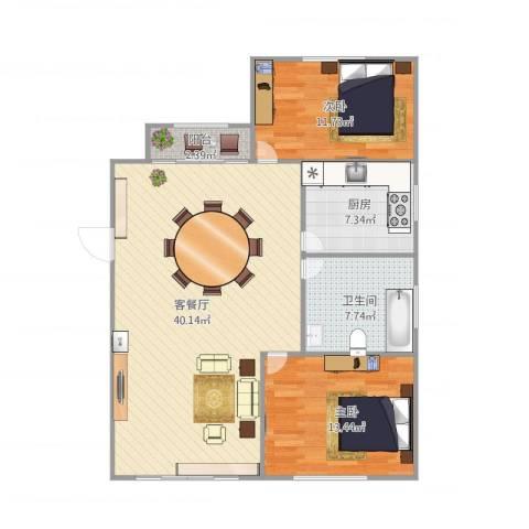 大华锦绣华城第19街区2室1厅1卫1厨110.00㎡户型图